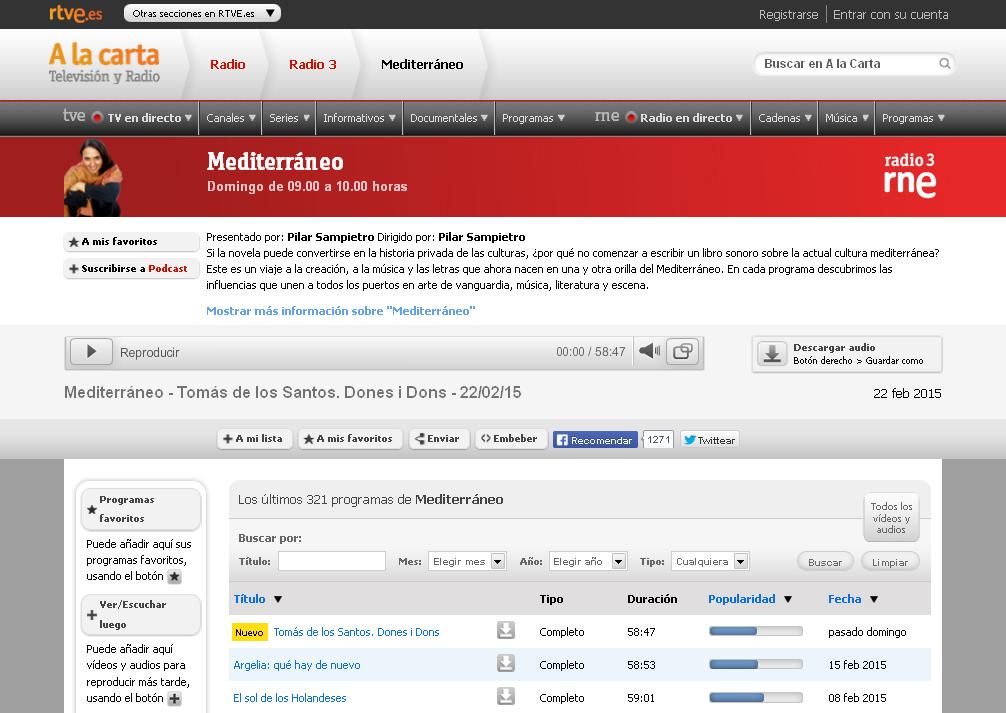 rtve radio 3 mediterraneo
